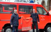 Werner Gilde und Helmut Schmidt von der Karlsruher Feuerwehr mit Banater Wurzeln